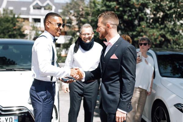 newlywed groom celebrates