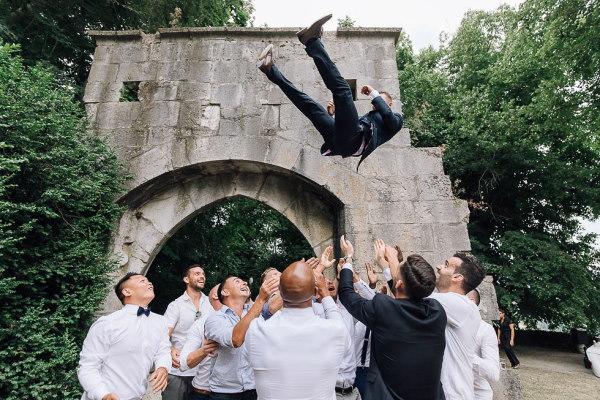 groom thrown into air