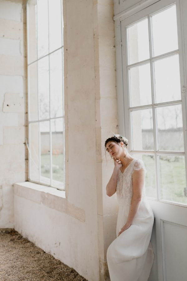 Bride by French Farm House Window