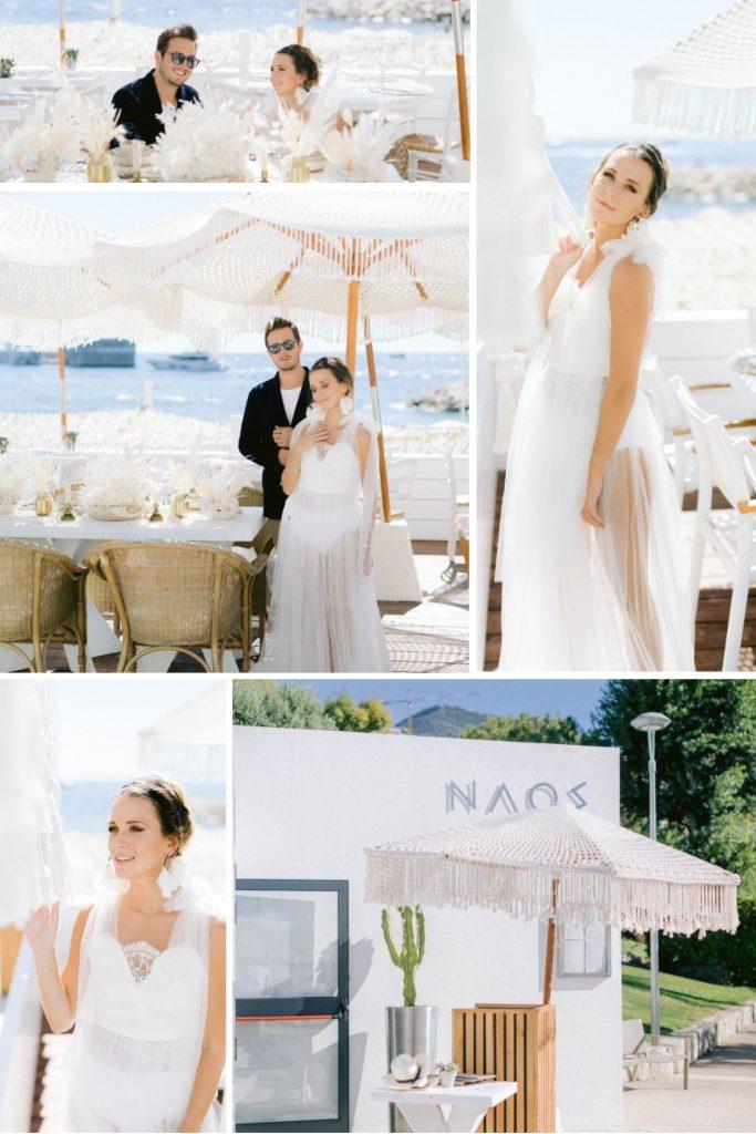 A Greek Wedding at Naos Beach in Cap d'Ail, France Collage