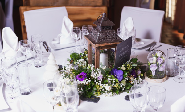 Wedding table setting with candle at Hotel les Grands Montets