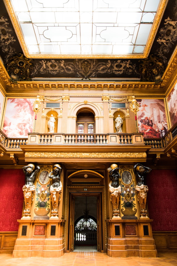 Gold Columns and Red Walls in Chateau Rothschild