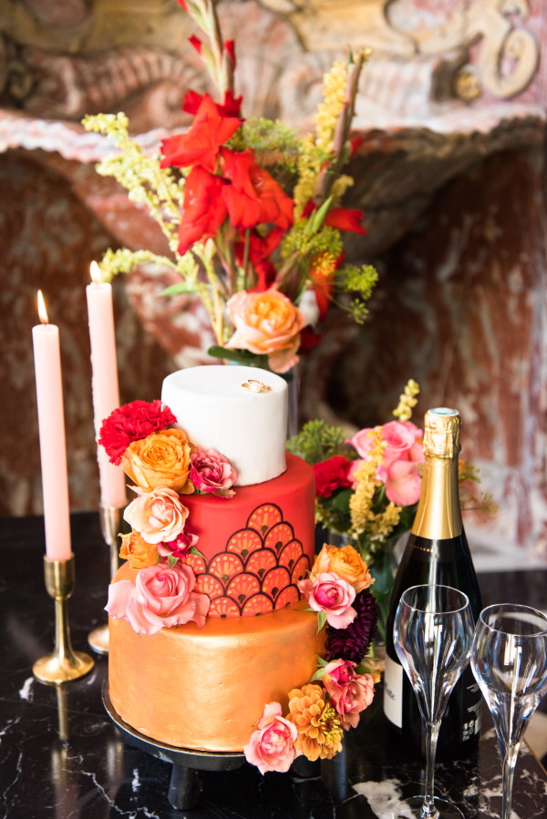 Red and Gold Japanese inspired French tiered Wedding Cake
