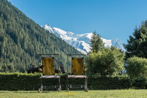 Chairs overlooking Chamonix Valley at Hotel les Grands Montets