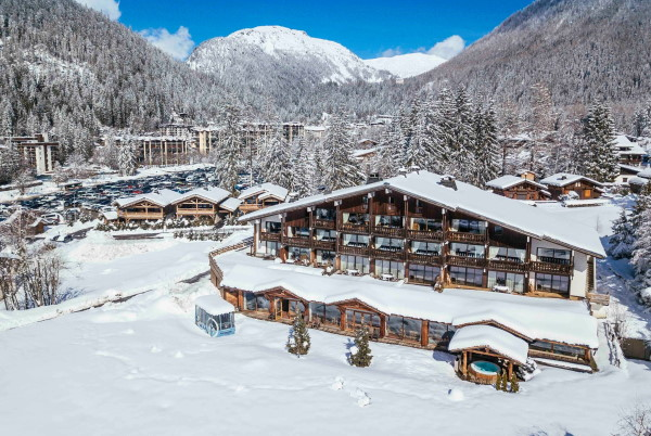 Aerial view of snow covered Hotel les Grands Montets