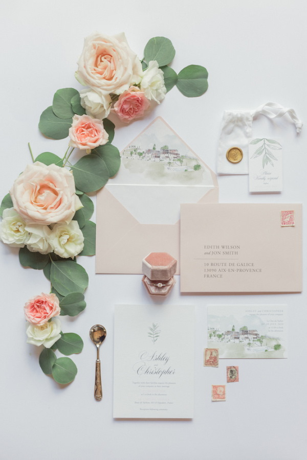Pastel stationery for wedding at Le Clos du Tuilier