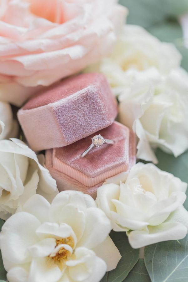 Pink Pastel Wedding Ring Box with Diamond Ring
