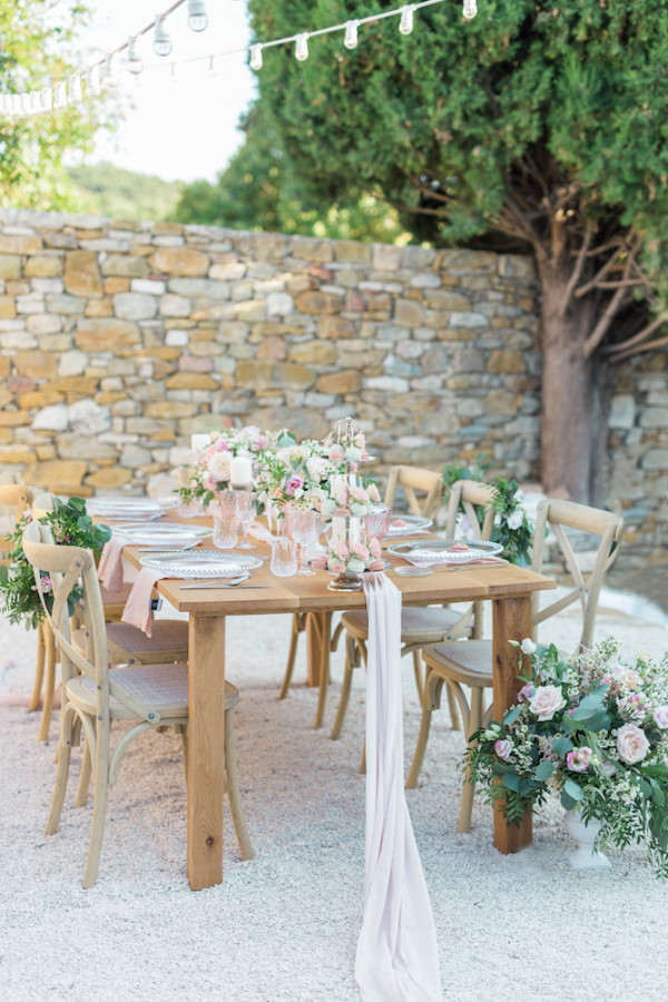 Pastel Wedding Table Setting Outside in French Hamlet in Provence