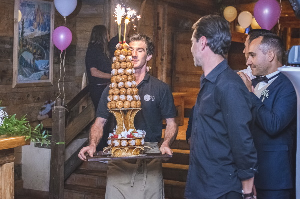 Croquembouche being served with sparklers at Hotel les Grands Montets