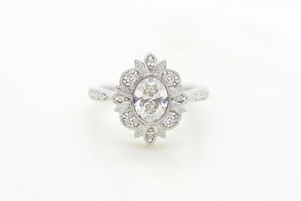 Diamond and Silver Engagement ring from Taylor & Hart