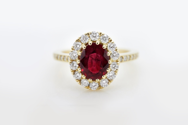 Ruby and Diamond gold engagement ring from Taylor & Hart