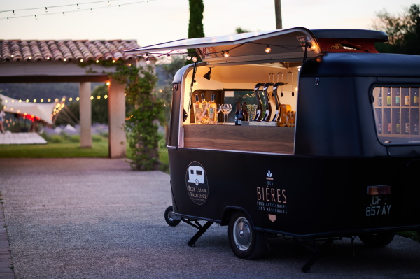 Beer Truck Provence from Marseille black Beer Van for weddings