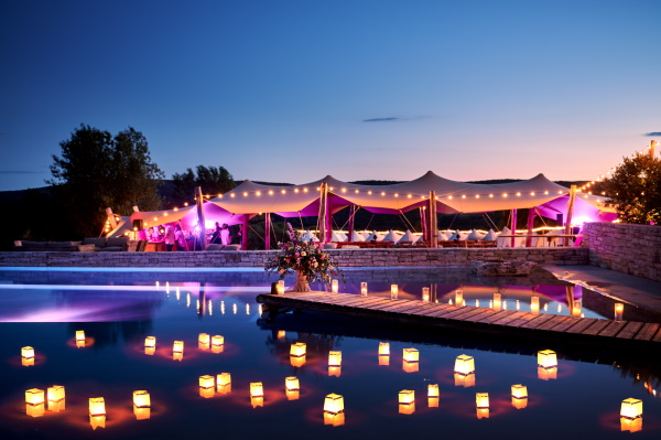 Floating lanterns in the infinity pool at Domaine de Bres