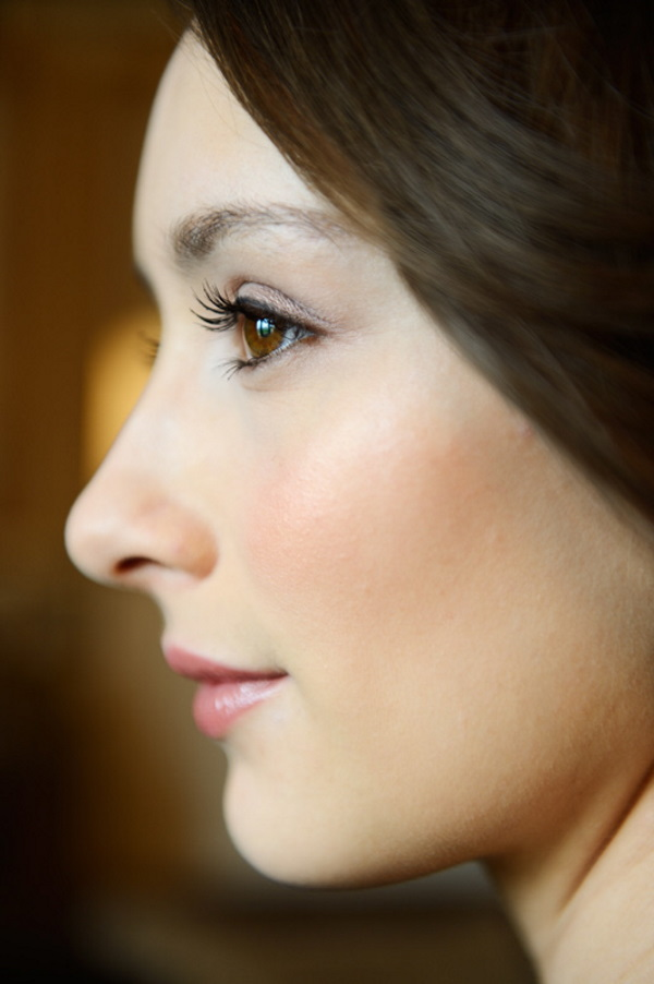 Closeup of Bride with Dewy Complexion Winter Wedding Makeup