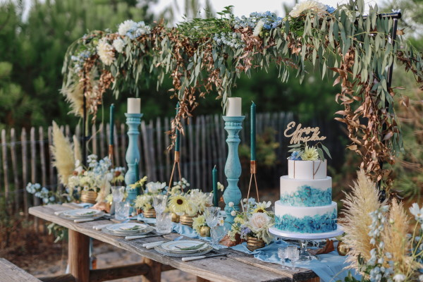 Ocean themed wedding table setting by the sea at Le Petit Nice, France