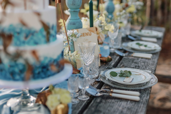 Ocean wedding themed table setting close up