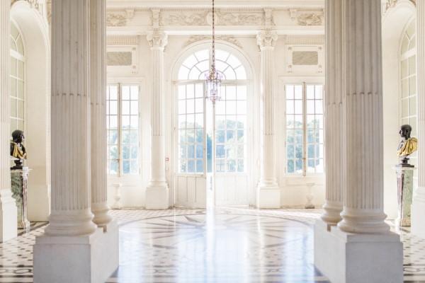 Cream interior entrance hall of Chateau de Baronville, France