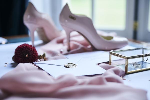 pale pink patent bridal shoe