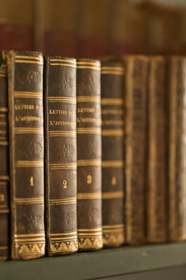 Closeup of old leather bound books in the library of Chateau d'Azy