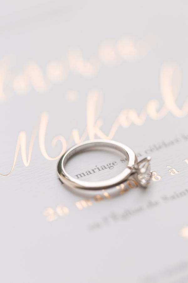 "Diamond wedding ring on wedding stationery circling the word ""wedding"""