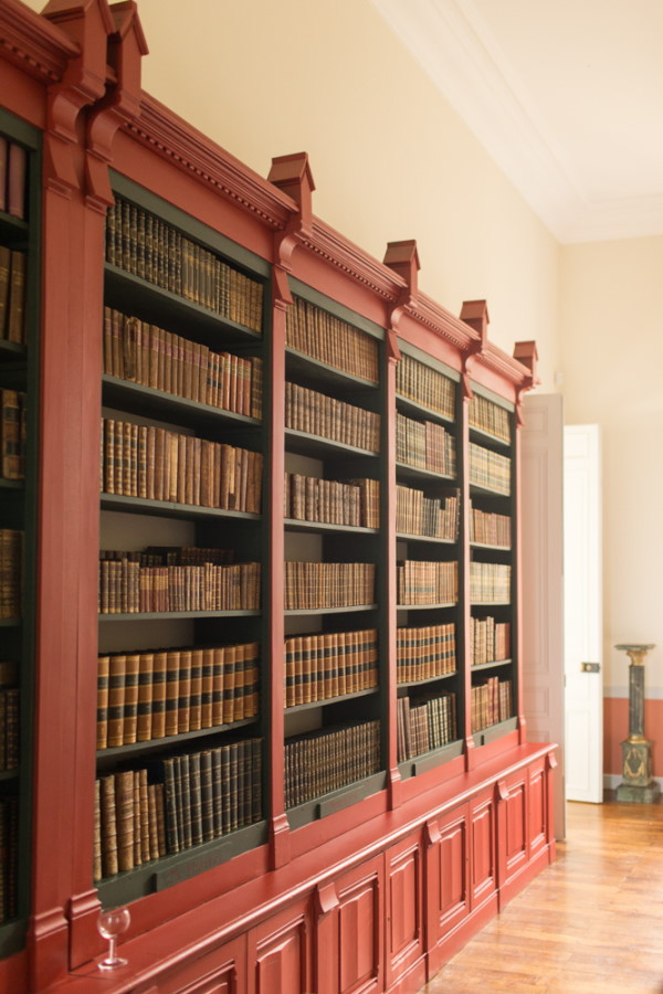 Book case filled with old books inside Chateau d'Azy