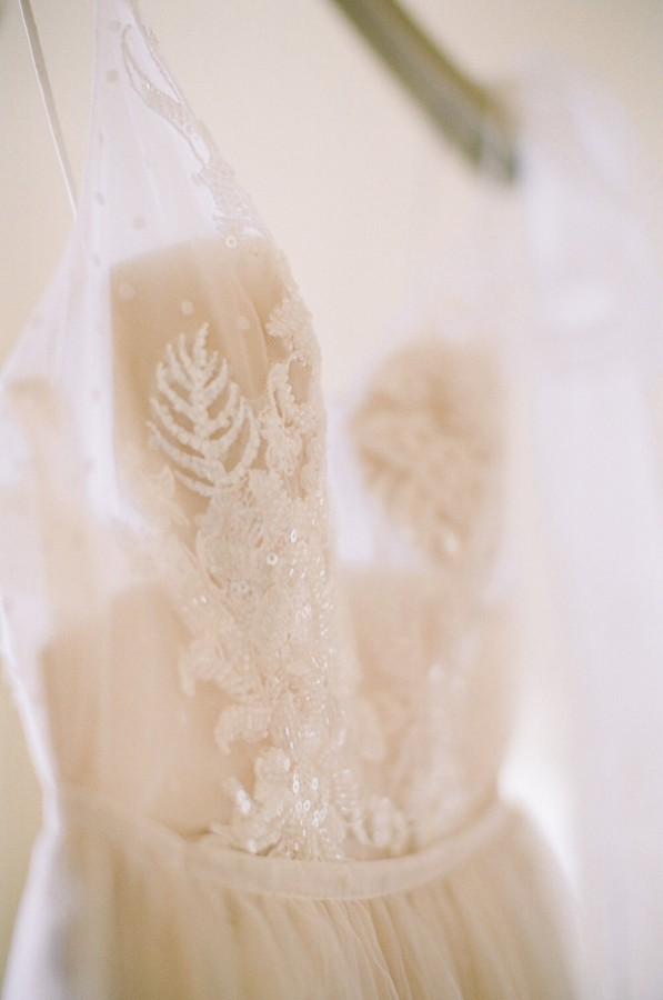 closeup of bodice of beaded wedding dress