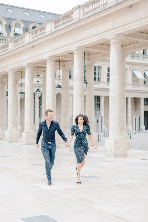 Marine & Guillaume Louvre Palace Engagement Picture 3