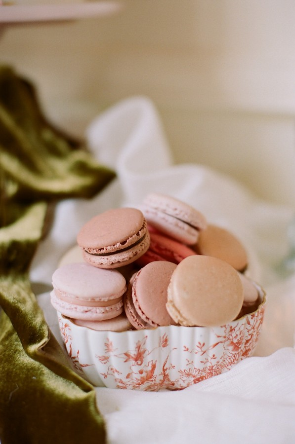 selection of pink macarons