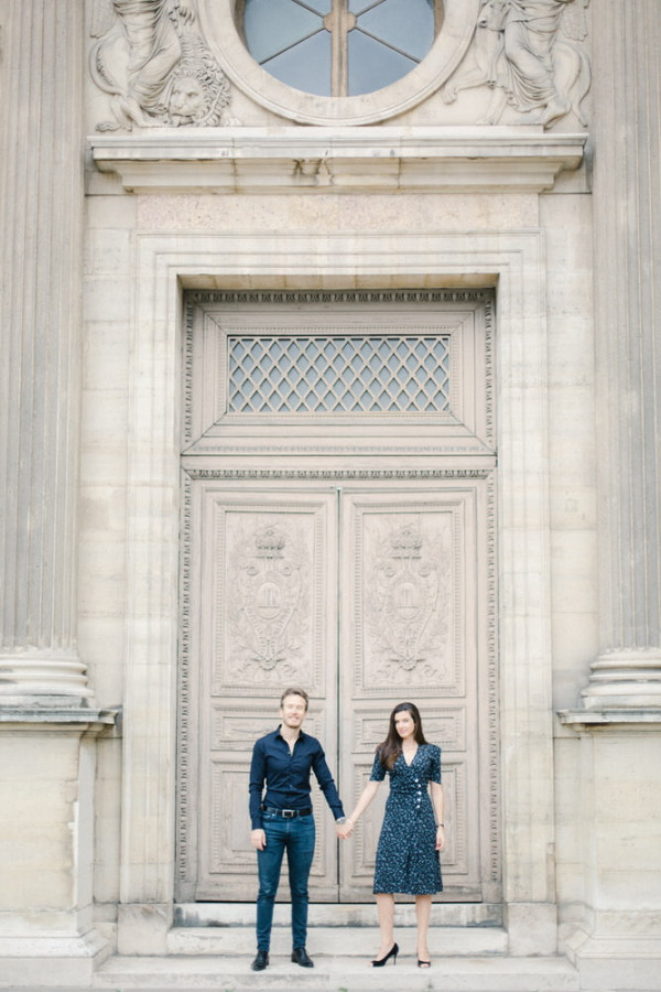 Marine & Guillaume Louvre Palace Engagement Picture 5