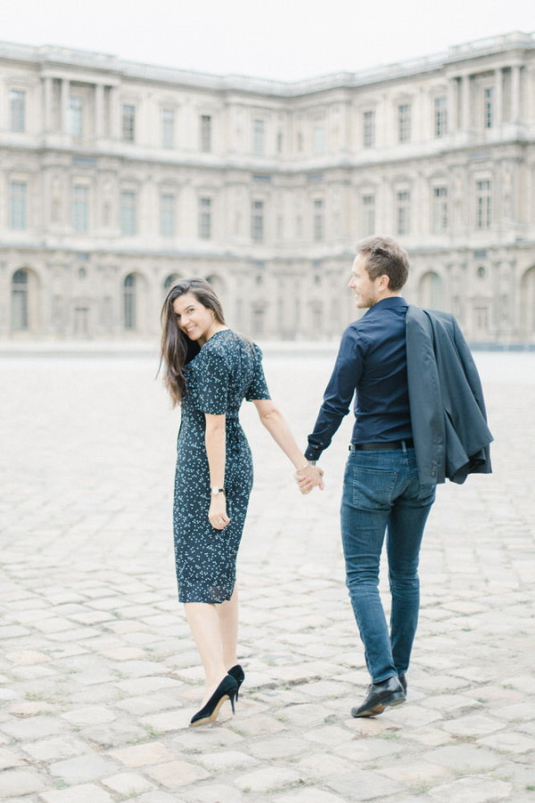 Marine & Guillaume Louvre Palace Engagement Picture 6