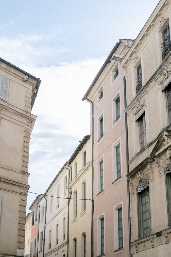 Exterior of cream buildings in south of France