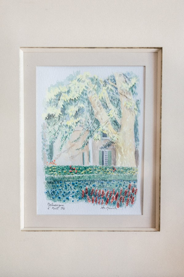 Small watercolour painting in frame