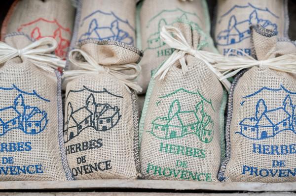 Wedding Favours of mini hessian sacks that say Herbes de Provence