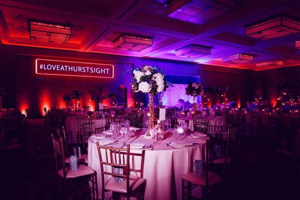 #LoveAtHurstSight red LED sign at wedding