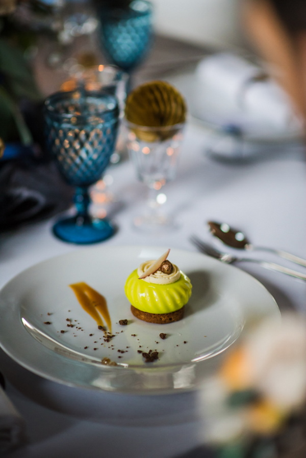 lime wedding dessert on wedding table