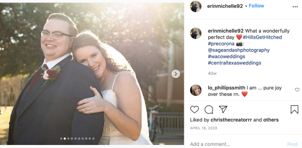 #HillsGetHitched instagram screenshot of married couple