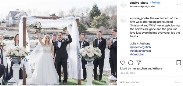 #KentToBe instagram screenshot of married couple