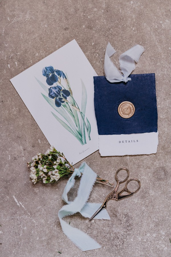 Iris flower printed stationery with gold wax seal and small posie of Baby's-breath