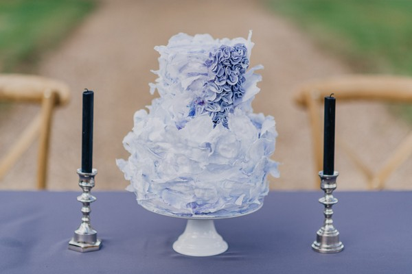 Blue and lilac ruffled floral 2 tier wedding cake