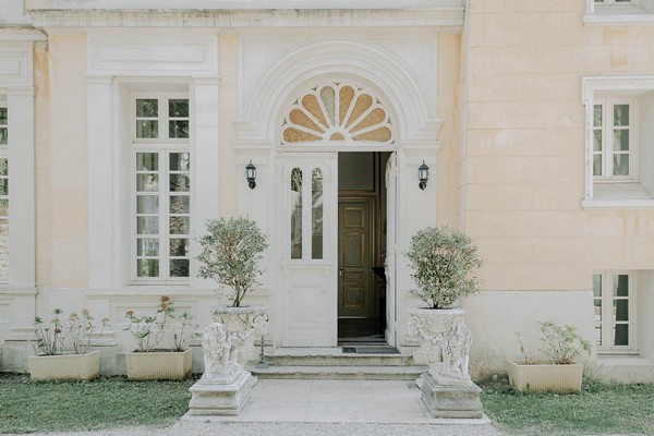 Chateau St George's front door and lion statues