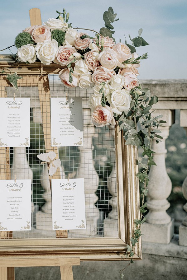 wedding seating plan on wire chicken mesh with pink roses decorating the corners