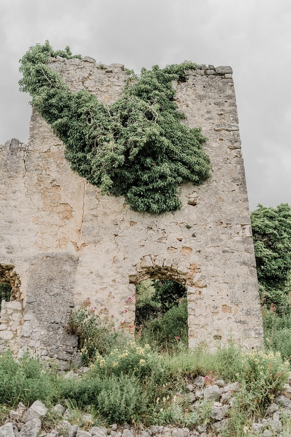 stone castle ruins with vines