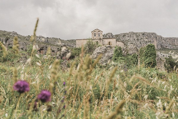 view of old stone castle ruins with purple field flowers in foreground