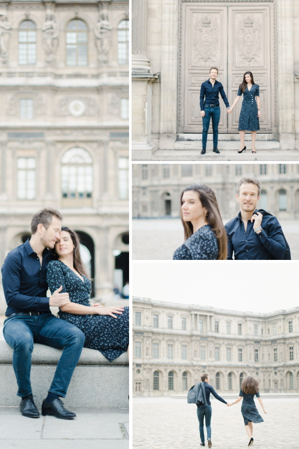 Engagement Shoot at the Pyramide du Louvre Collage