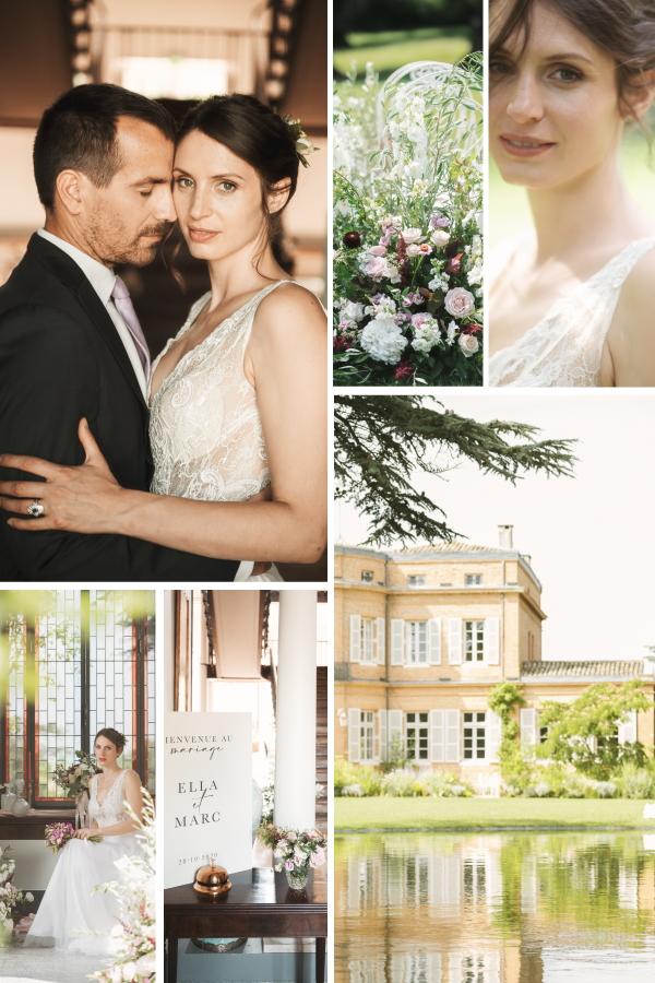 La Ville Rose: Elegant Wedding Inspiration in Toulouse France Collage