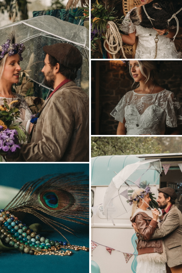 Peacock Palette Wedding With A Beautiful Pregnant Bride Collage