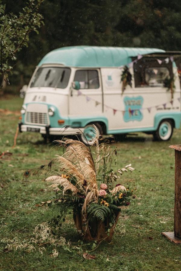 vintage blue and white icecream van