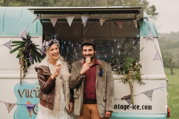 bride and groom eat icecream outside vintage icecream van