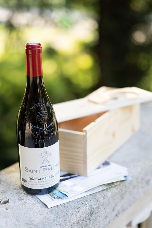Bottle of Domaine de Saint Préfert Red Wine and wooden box