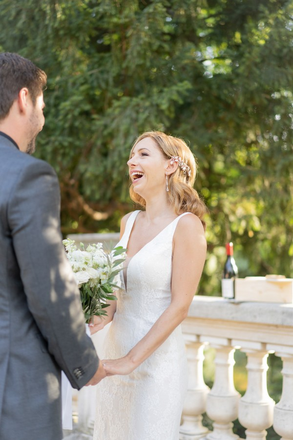 Bride laughs when saying her vows